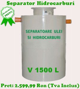 separator hidrocarburi 1500 litri