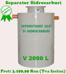separator hidrocarburi 2000 litri